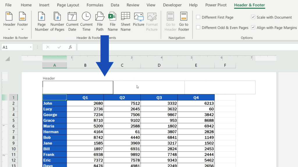 How to Insert Page Numbers in Excel - Header