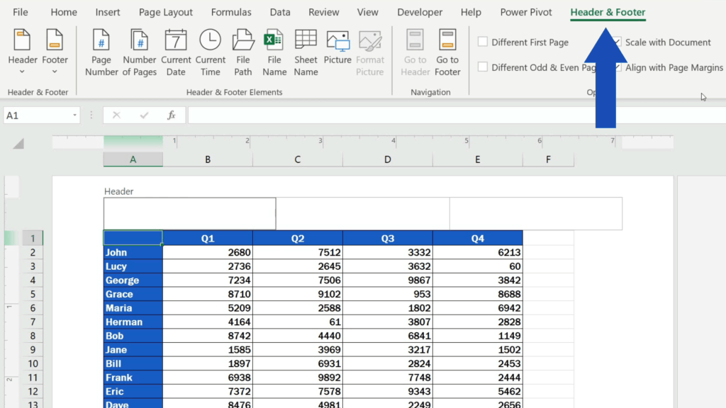 How to Insert Page Numbers in Excel - Header & Footer tab