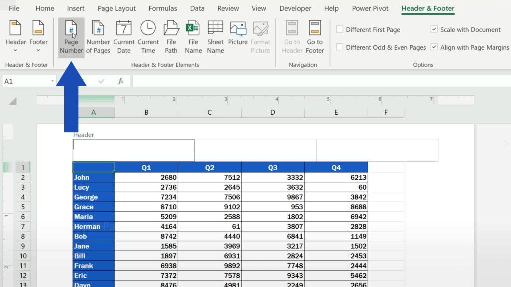 How to Insert Page Numbers in Excel - Select Page Number