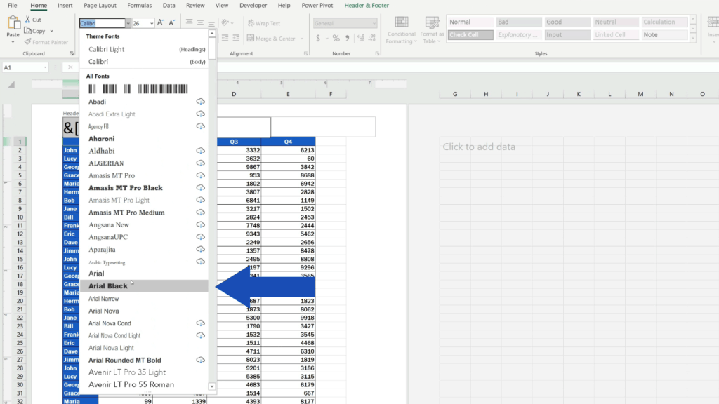 How to Insert Page Numbers in Excel - change the font type