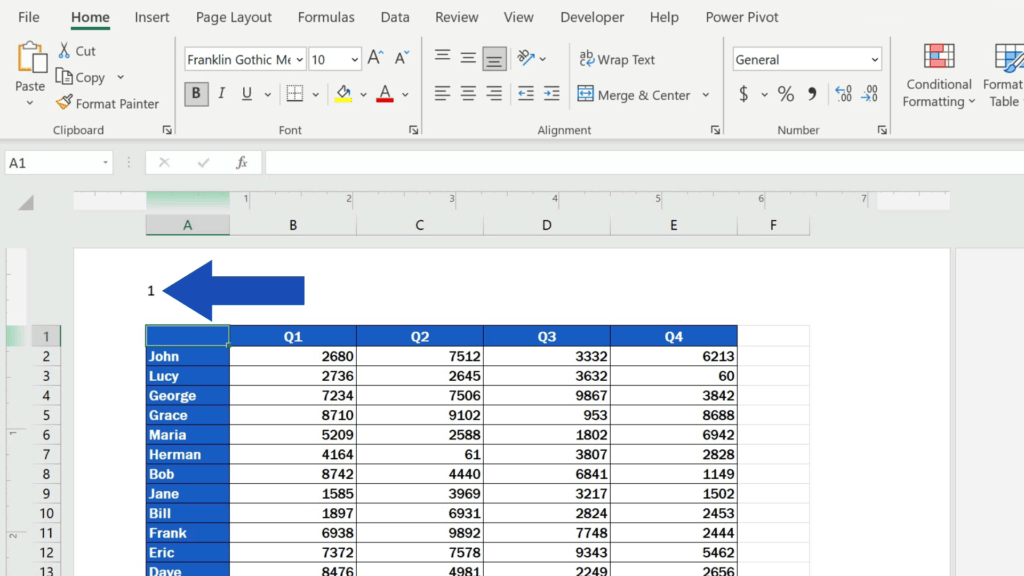 How to Insert Page Numbers in Excel - click anywhere within the document area to see the number of the page
