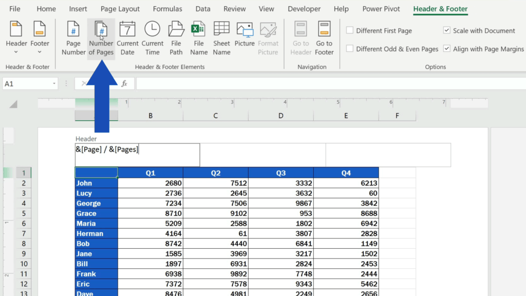 How to Insert Page Numbers in Excel - click on 'Number of Pages'