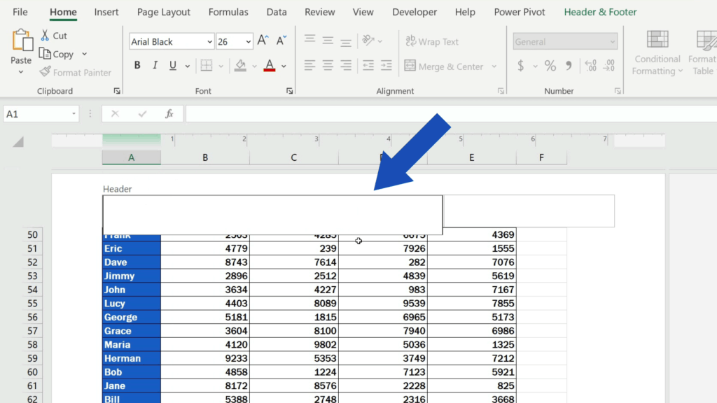 How to Insert Page Numbers in Excel - delete