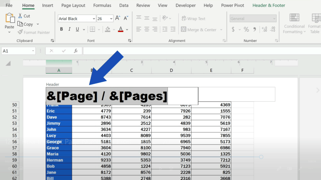 How to Insert Page Numbers in Excel - remove page numbering from the header