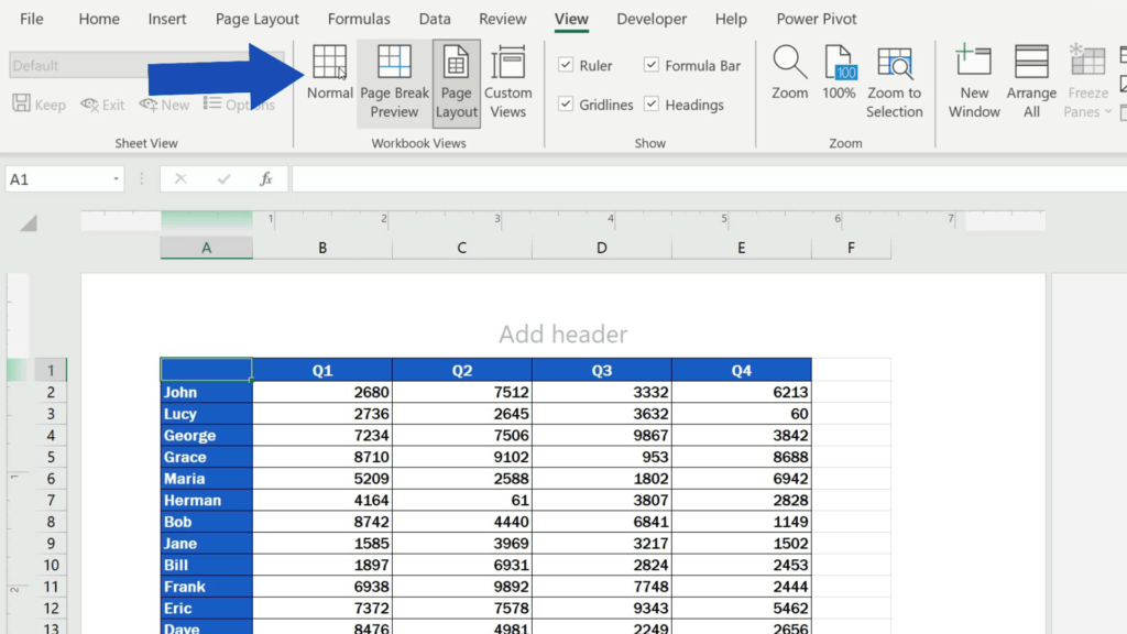 How to Insert Page Numbers in Excel - return to the regular view selecting the view 'Normal'