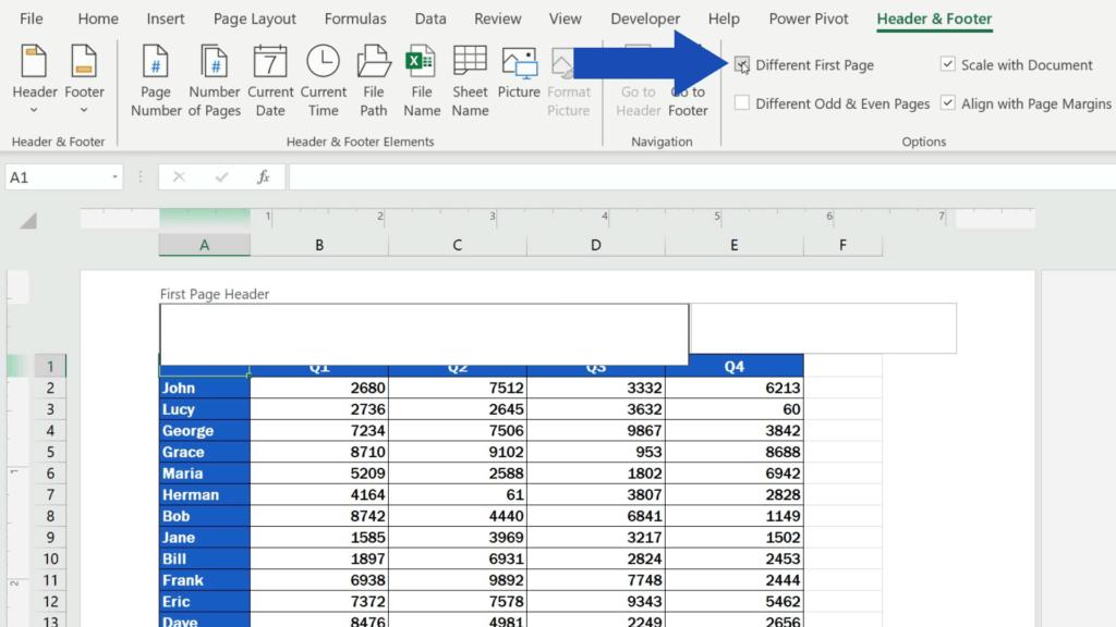How to Insert Page Numbers in Excel - select 'Different First Page'