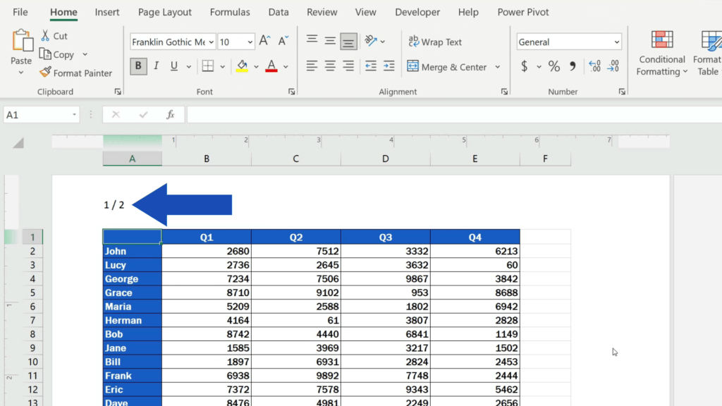 How to Insert Page Numbers in Excel - shows the number of pages separated with aslash