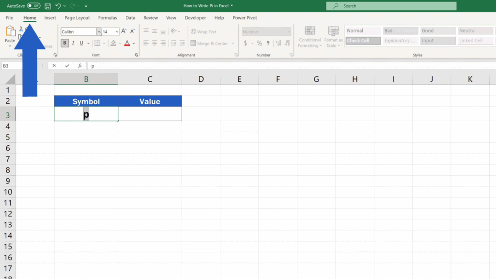 How to Write Pi in Excel - Highlight the letter and go the Home tab
