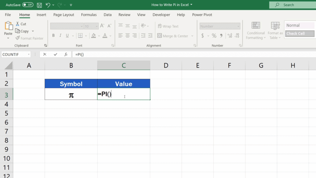 How to Write Pi in Excel - close the brackets leaving it all empty