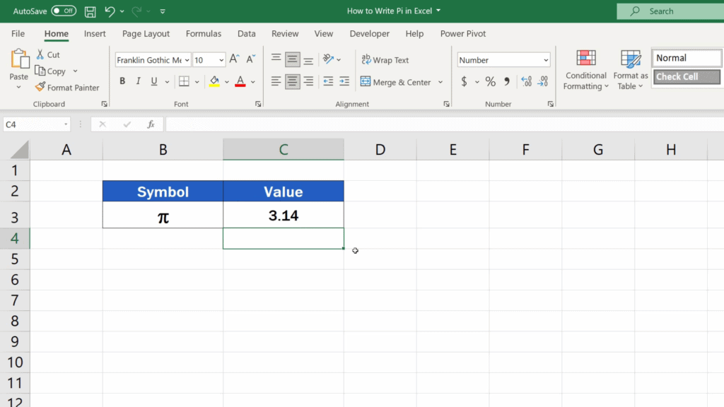 How to Write Pi in Excel - display the exact value of pi