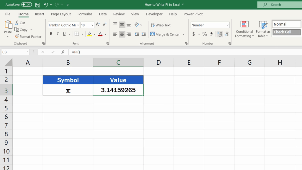 How to Write Pi in Excel - display up to 15 digits of the number