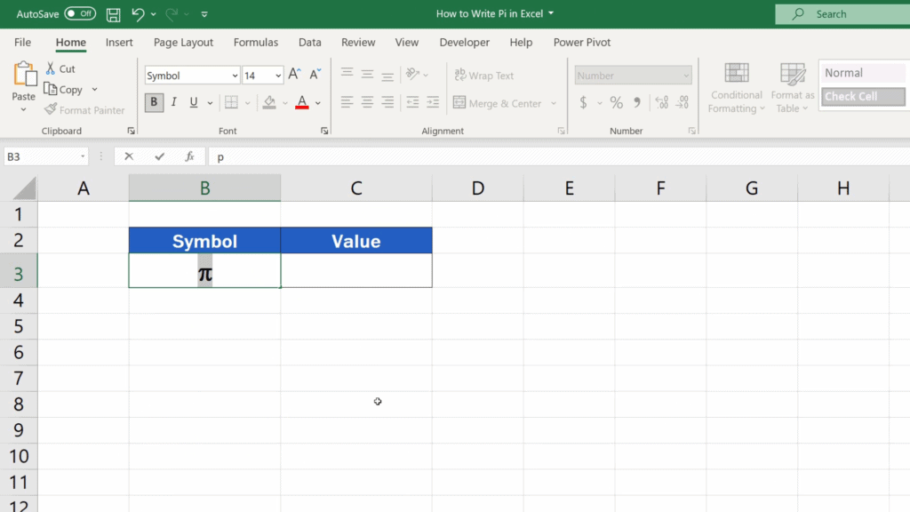 How to Write Pi in Excel - the symbol for pi