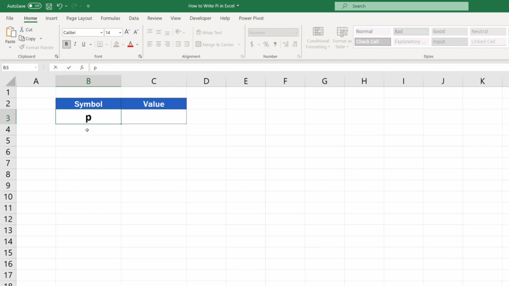 How to Write Pi in Excel - type in letter p